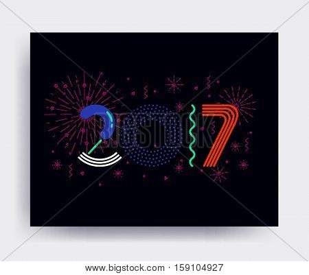 2017 New Year design, eye catching banner. Bright colorful vector illustrations for greeting card, posters, print, mobile phoned designs, ads, promotional material Acid color Orange Blue Green