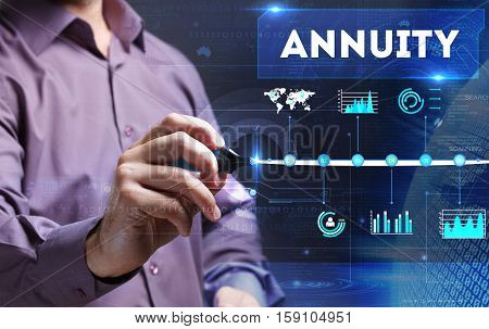 Technology, Internet, Business And Marketing. Young Business Man Writing Word: Annuity