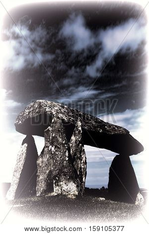 Toned image of the Pentre Ifan, is a prehistoric megalithic communal stone, burial chamber which dates from approx 3500BC in Pembrokeshire, Wales, UK