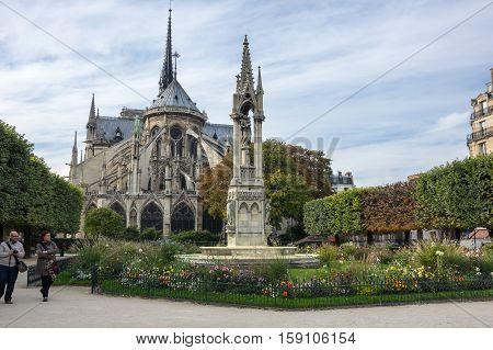 PARIS FRANCE - OCTOBER 12 2015: Notre-Dame de Paris (French for