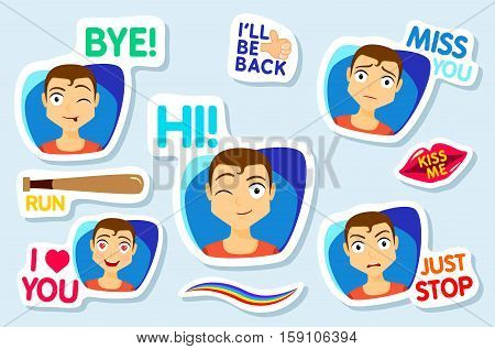 Collection of stickers for chat or sms. Stickers with man. Men with different facial expressions. cartoon funny stickers set. Bye Hi Miss you I love you Just stop Vector
