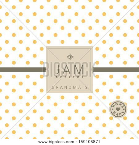Apricot jam label. Swatch pattern included.