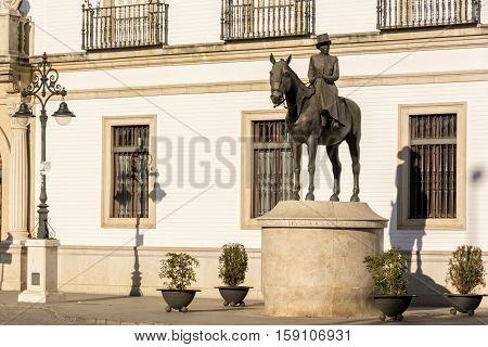 Equestrian statue of Maria de las Mercedes in de Borbon y Orleans on Paseo de Cristobal Colon , Seville Spain.