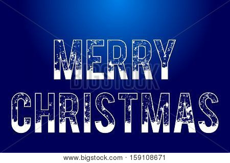 text Merry Christmas on blue background isolated snowy outlined text vector holiday illustration