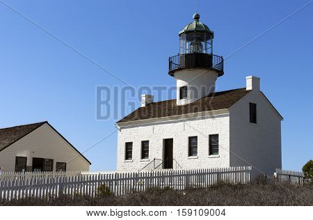 The historic Old Point Loma lighthouse at Cabrillo National Monument in San Diego, California,America