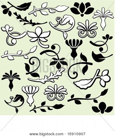 A set of 25 ornamental design elements in classic style. These are very precisely done elements, the lines are EXQUISITE and all the corners are SMOOTH. Ready for any use including vinyl-cutting .