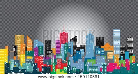 white windows on city skylines, color cityscape background, editable and layered