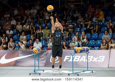 DEBRECEN - SEPTEMBER 8 : FIBA 3X3 BASKETBALL WORLD TOUR MASTERS - THREE PTS COMPETITION - STREETBALL IN THE CENTER SQUARE SEPTEMBER 8 2016 DEBRECEN HUNGARIYA