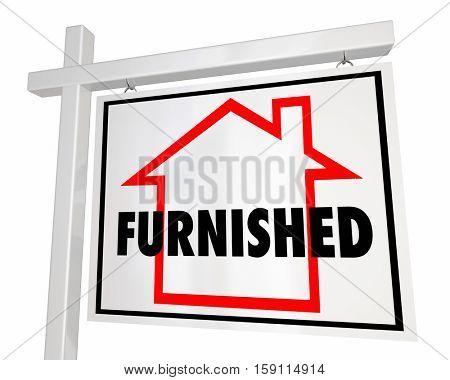 Furnished Home for Sale House Real Estate Sign 3d Illustration