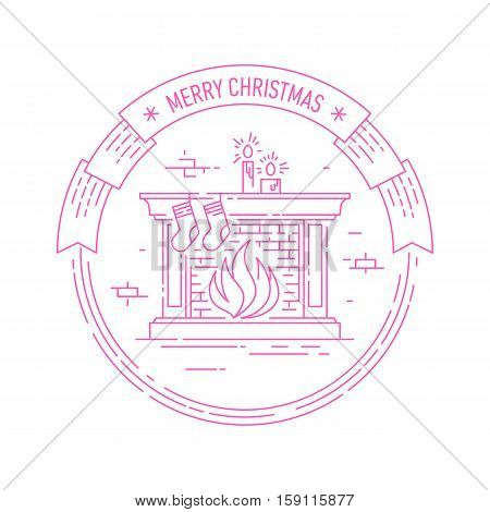 Merry Christmas and Happy New Year creative badge or labels with fireplace, socks and candles for greetings cards, gift tags, Christmas sale or web design. Thin lines, . Vector.