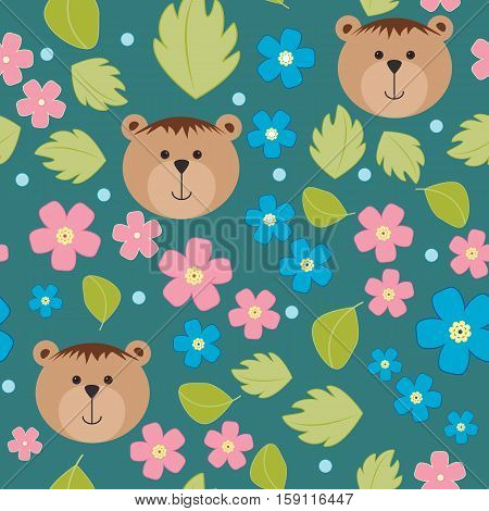 Floral background vector pattern with forget-me-not flowers and bears. Seamless vector pattern for cushion pillow bandanna silk kerchief or shawl fabric print. Texture for clothes bedclothes