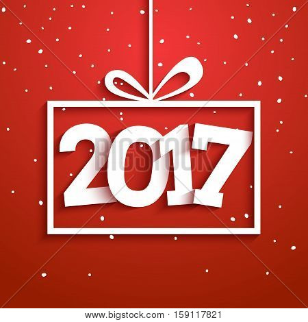 Contemporary modern 2017 new year vector card. Holiday greeting xmas celebration. Winter party design.