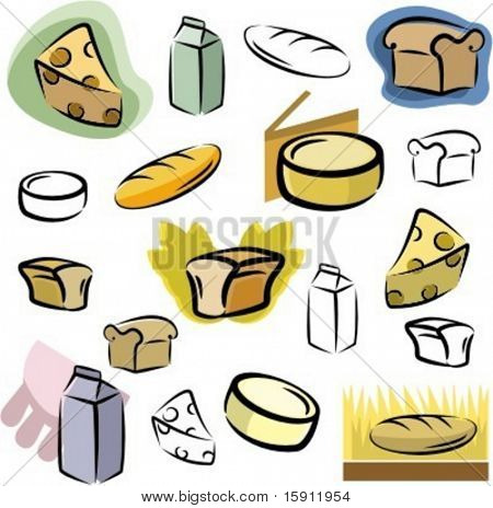 A set of icons of dairy and bread vector icons in color, and black and white renderings.