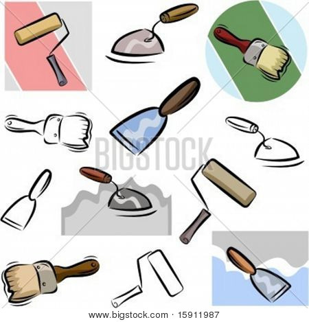 A set of vector icons of tools in color, and black and white renderings.