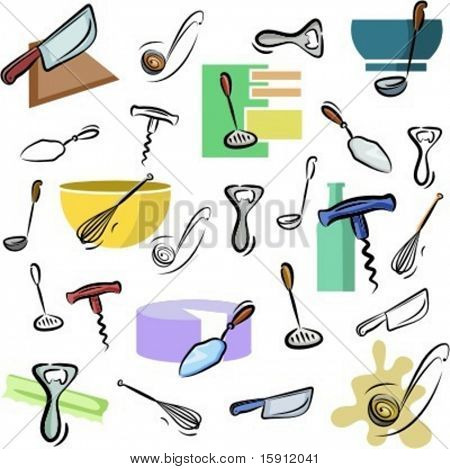 A set of kitchen utensil vector icons in color, and black and white renderings.