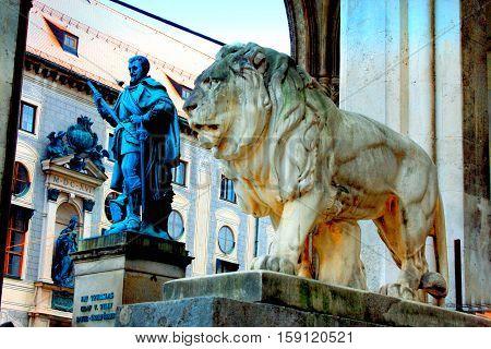 Munich, Germany - Bavarian Lion Statue in front of Feldherrnhalle Bavaria Germany