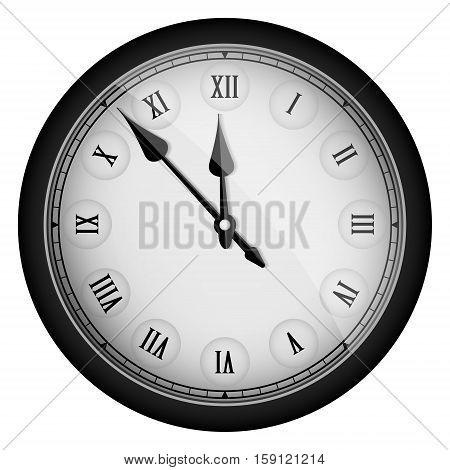 Black Realistic Vintage Clock Isolated On White. Vector Illustration