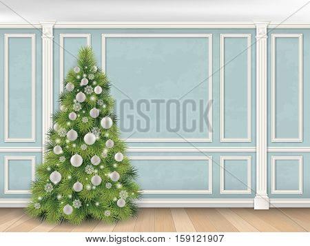 Christmas tree on blue wall with pilasters and moulding panels. Vector realistic illustration. Luxury interior. Indoor background.