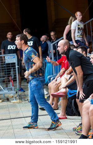 DEBRECEN - SEPTEMBER 8 : FIBA 3X3 BASKETBALL WORLD TOUR MASTERS CROWD - STREETBALL IN THE CENTER SQUARE SEPTEMBER 8 2016 DEBRECEN HUNGARIYA