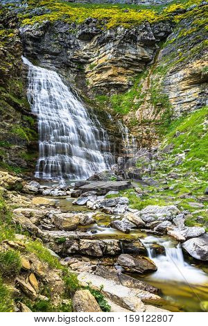Cascada Cola de Caballo waterfall under Monte Perdido at Ordesa Valley Aragon Huesca Pyrenees of Spain