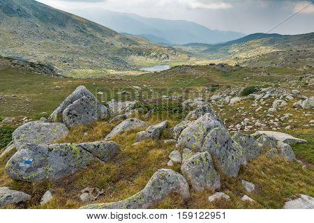 Landscape to Rocky scree and Spanopolsko Lake, Pirin Mountain, Bulgaria