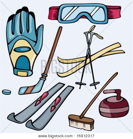A set of 6 skiing, ice hockey and curling icons. Ready-to-cut. Pantone colors.