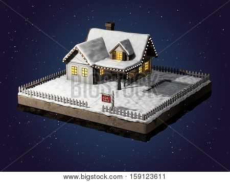 Small clapboard siding house with snow-covered roof. Beautiful home for sale with realestate sign. Little cottage on a piece of earth in cross section. Winter christmas scene at night. Christmas cabin at night with light in the windows. 3D illustration.