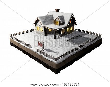 Small clapboard siding house with snow-covered roof. Beautiful home for sale with realestate sign. Little cottage on a piece of earth in cross section.. Christmas cabin isolated on white. 3D illustration.