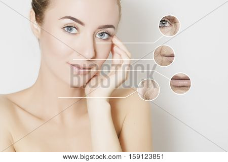 skin revitalizing concept woman applies product to her cheek