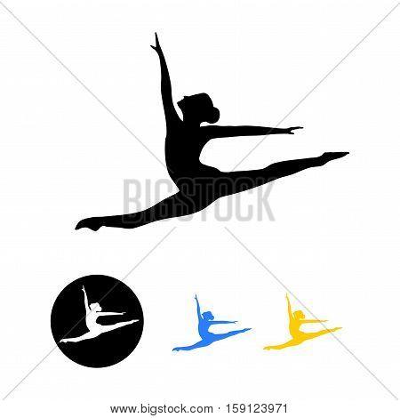 Ballet dancer silhouette,ballet icon, dance icon - vector illustration.