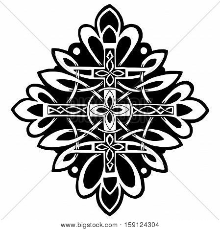 beautiful pattern with a cross in the Celtic style