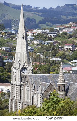 The view of Presbyterian Church in Port Chalmers the suburb of Dunedin city (New Zealand).
