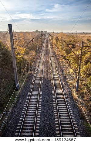 Railway rails of stretching into the distance.