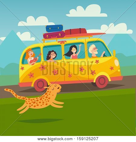 Summer trip vector illustration. Surfing bus illustration with place for your text. Happy people on summer holidays. Yellow microbus with surfers on road trip. Tourism concept cartoon character hippie