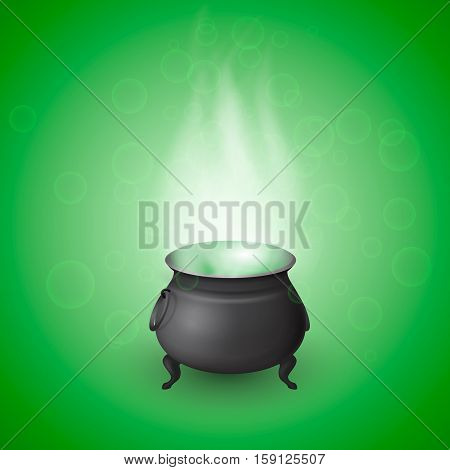 Cartoon Halloween witch cauldron with potion and realistic flames on green background with bubbles. Black pot with bubbling magic brew. Vector illustration.