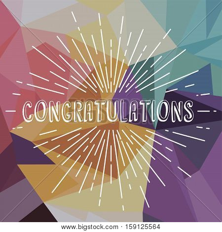 congratulations greetings sunrays retro theme vector art illustration
