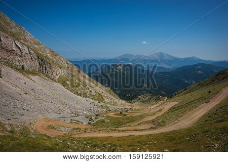 Mountain View From The Road On A Mountain Pass Leading To The Panta Vrechi, Evritania, Greece