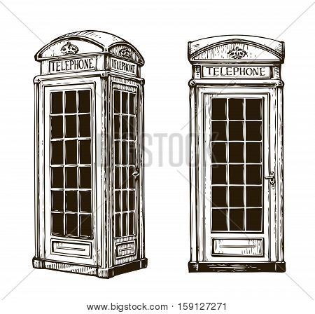 Hand drawn London phone booth. Sketch vector illustration isolated on white background