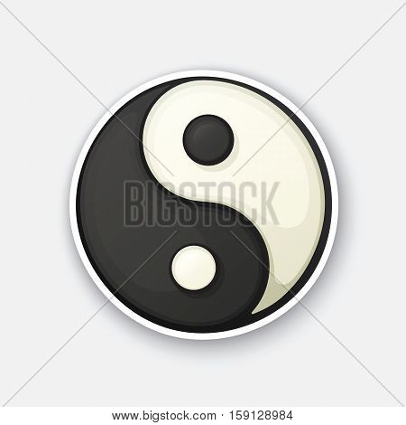 Vector illustration. Yin and Yang symbol of harmony and balance. Cartoon funny sticker in comic style with contour. Decorative sticker for your greeting cards, posters, patches and prints for clothes, flyers, emblems