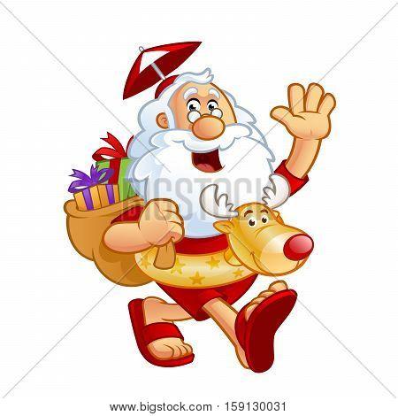 Sympathetic Santa Claus dressed in summer clothes