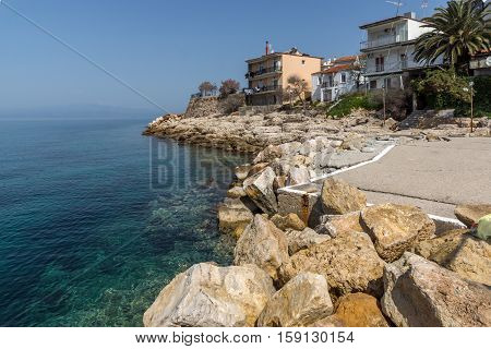 Old Houses on Embankment in Skala Maries, Thassos island, East Macedonia and Thrace, Greece
