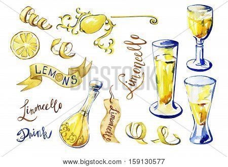 Traditional homemade lemon liqueur limoncello beverage.  Big set of isolated  elements- carafe of limoncello, peel, slice, label, in sketch style. Hand drawn watercolor painting on white background.