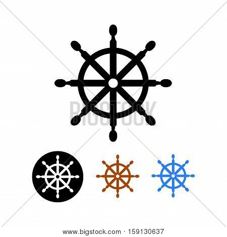 Ship steering wheel - isolated on white background