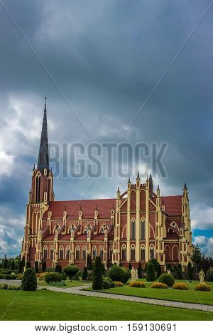 Holy Trinity Catholic Church in Gothic Revival style in Gervyaty, Grodno region, Belarus.
