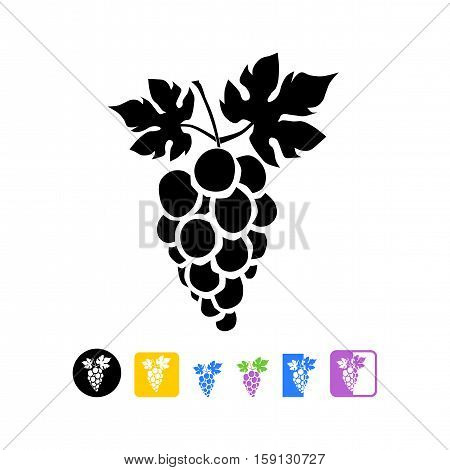 Bunch of grapes with leaf flat icon
