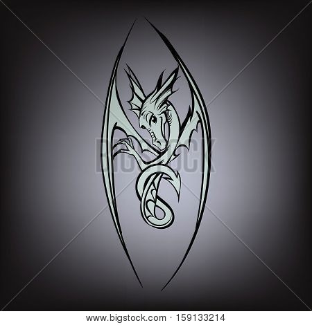 Dragon logo vector  style, symbol, symbolic, tattoo, template