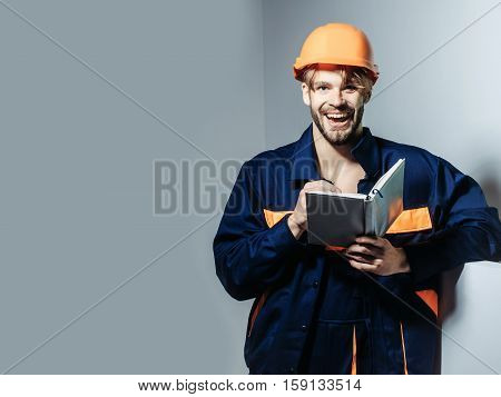 Happy Man Keeps Accounting Book