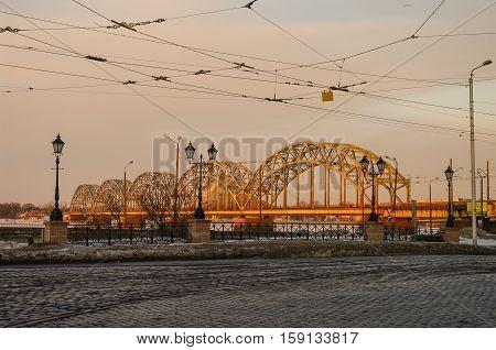 Railway Bridge Over The Daugava River In Riga On Early Morning, Latvia