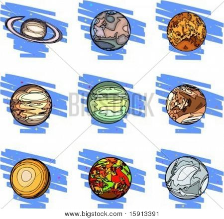 A set of 9 vector illustrations of planets.