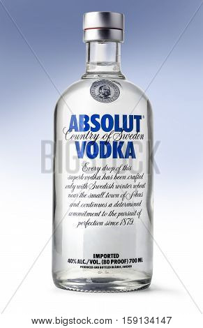 Chisinau Moldova November 16 2015: Bottle of Swedish vodka Absolut Produced by Vin & Sprit.